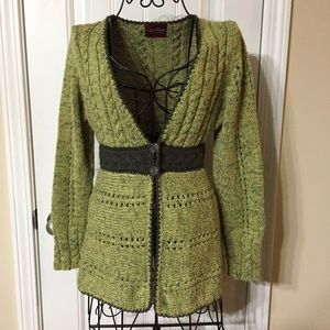 Galia Green Knitted Two-Button V-Neck Cardigan